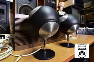 Grundig Audiorama 300 Kugel Klangstrahler Hifi Duo Bassbox 302 logo grundig