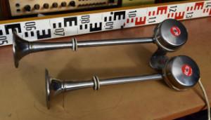 Retro Houkačka - Klakson - Dual Trumpet Metal 12V Electric Horn - boat marine car - L.E.B. Italy (177764)